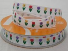 10mm TULIPS GROSGRAIN RIBBONS